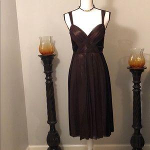 Brown Velvet and Sheer Cocktail Dress